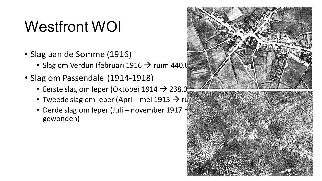 Westfront WOI Slag aan de Somme (1916) Slag om Verdun (februari 1916  ruim 440.000 doden) Slag om Passendale (1914-1918) Eerste slag om Ieper (Oktober 1914  238.000 doden) Tweede slag om Ieper (April - mei 1915  ruim 168.000 doden) Derde slag om Ieper (Juli – november 1917  ruim 800.000 doden / gewonden)