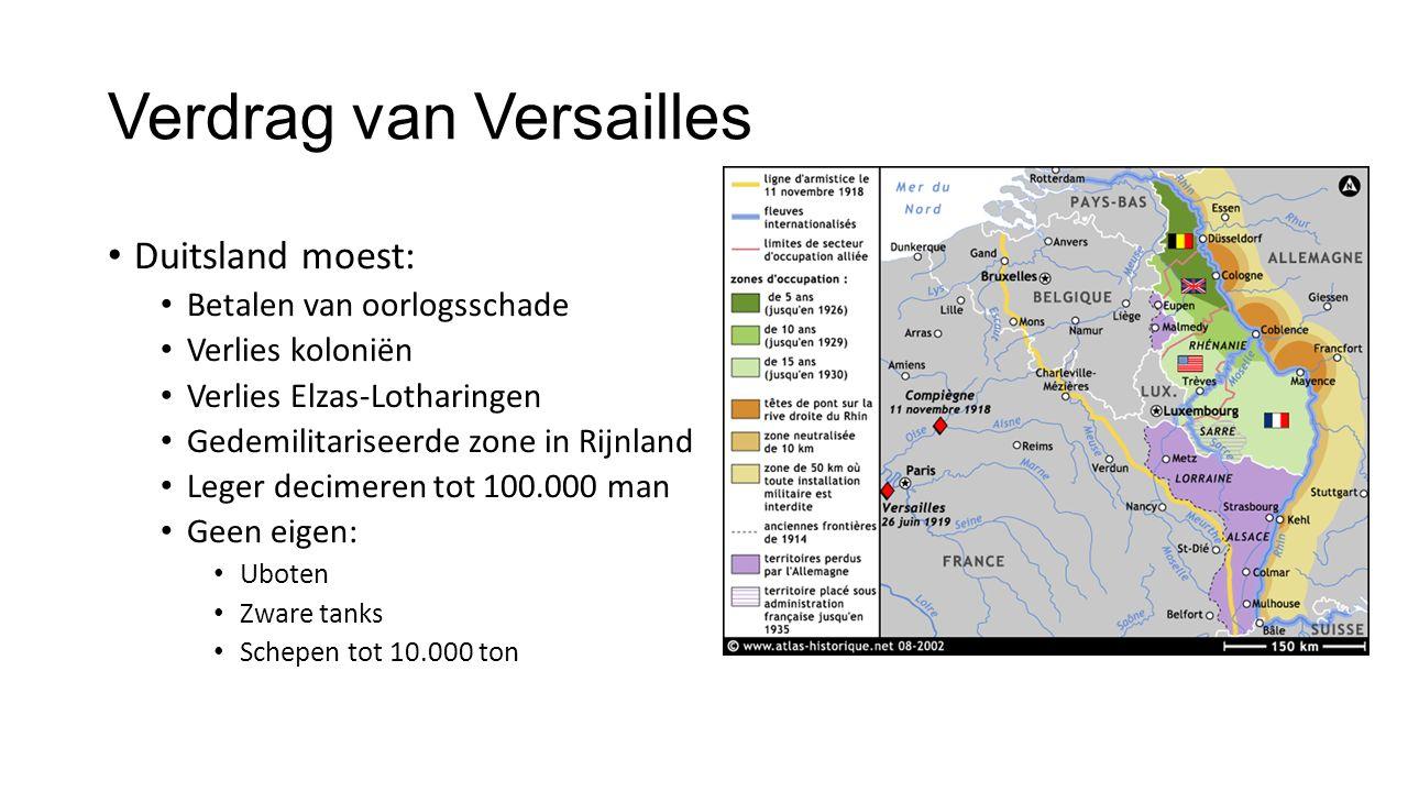 Verdrag van Versailles Duitsland moest: Betalen van oorlogsschade Verlies koloniën Verlies Elzas-Lotharingen Gedemilitariseerde zone in Rijnland Leger decimeren tot 100.000 man Geen eigen: Uboten Zware tanks Schepen tot 10.000 ton