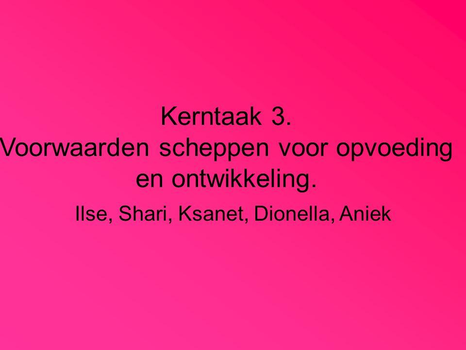 Kerntaak 3. Voorwaarden scheppen voor opvoeding en ontwikkeling. Ilse, Shari, Ksanet, Dionella, Aniek