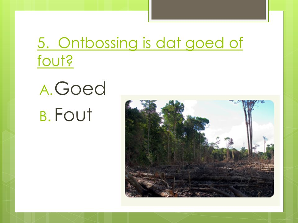 5. Ontbossing is dat goed of fout? A. Goed B. Fout