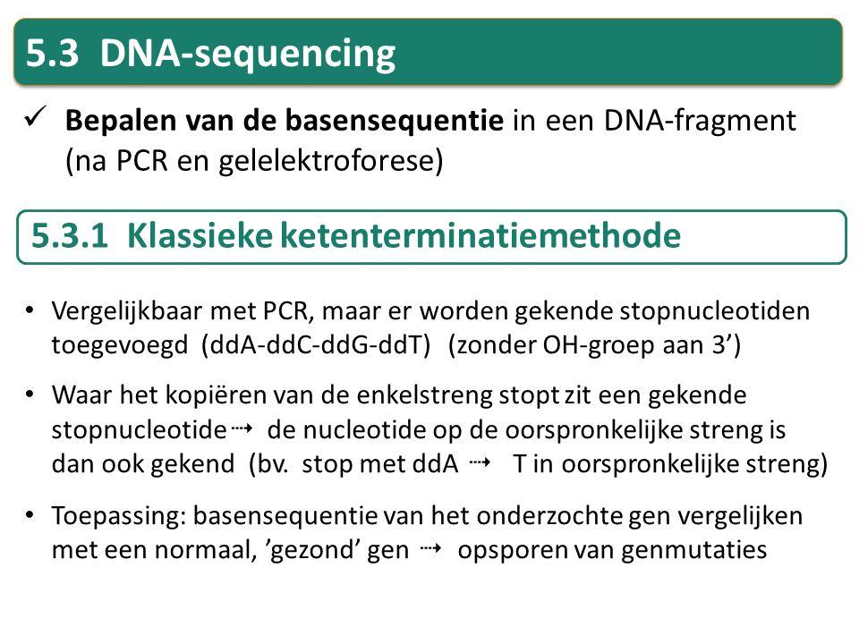 5.3 DNA-sequencing Bepalen van de basensequentie in een DNA-fragment (na PCR en gelelektroforese) 5.3.1 Klassieke ketenterminatiemethode Vergelijkbaar