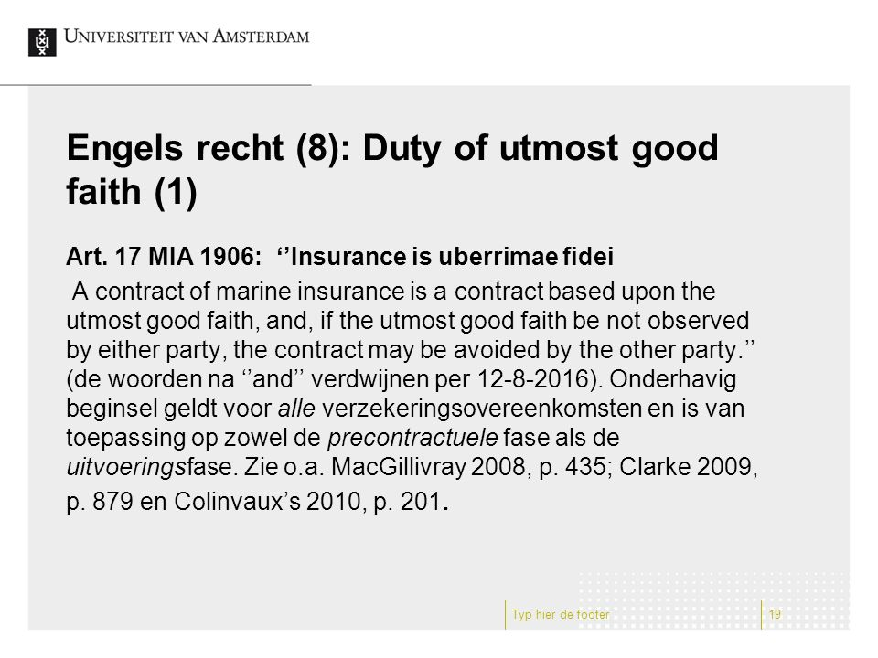 Engels recht (8): Duty of utmost good faith (1) Art.