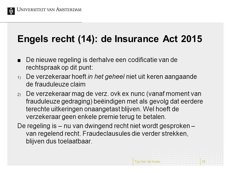 Engels recht (14): de Insurance Act 2015 De nieuwe regeling is derhalve een codificatie van de rechtspraak op dit punt: 1) De verzekeraar hoeft in het geheel niet uit keren aangaande de frauduleuze claim 2) De verzekeraar mag de verz.