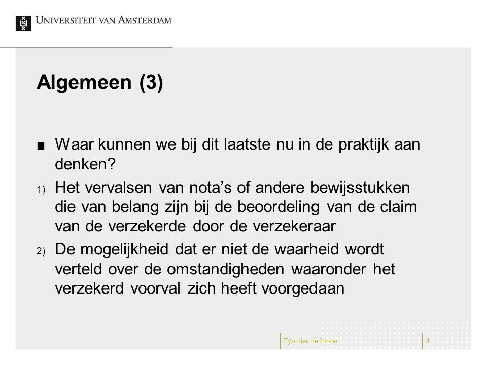Algemeen (4) In deze voordracht komen de volgende deelonderwerpen aan de orde: 1) Fraude bij de vaststelling van de transportverzekeringsuitkering naar Belgisch recht 2) Fraude bij de vaststelling van de (transport)verzekeringsuitkering naar Engels recht 3) Fraude bij de vaststelling van de (transport)verzekeringsuitkering naar Nederlands recht Typ hier de footer5