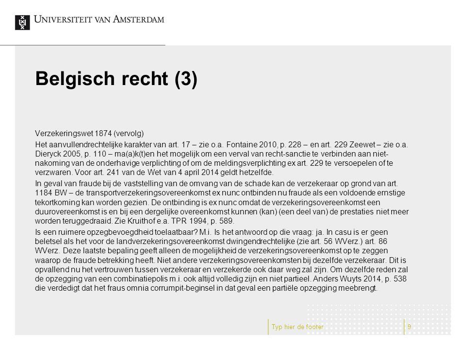 Belgisch recht (3) Verzekeringswet 1874 (vervolg) Het aanvullendrechtelijke karakter van art.