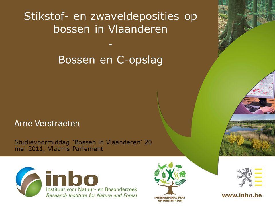 Stikstof- en zwaveldeposities op bossen in Vlaanderen - Bossen en C-opslag Arne Verstraeten Studievoormiddag 'Bossen in Vlaanderen' 20 mei 2011, Vlaams Parlement