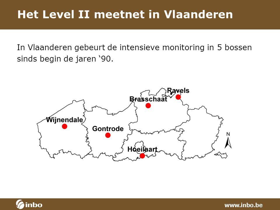 Het Level II meetnet in Vlaanderen In Vlaanderen gebeurt de intensieve monitoring in 5 bossen sinds begin de jaren '90.