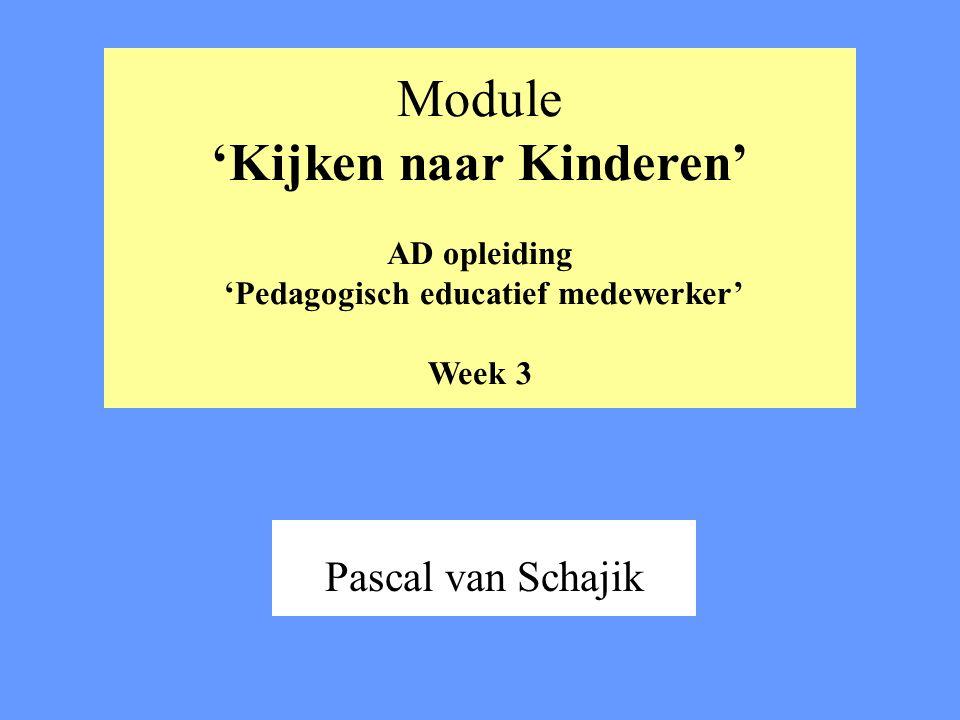 Module 'Kijken naar Kinderen' AD opleiding 'Pedagogisch educatief medewerker' Week 3 Pascal van Schajik