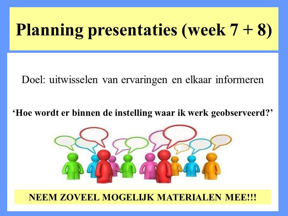 Planning presentaties (week 7 + 8) Doel: uitwisselen van ervaringen en elkaar informeren 'Hoe wordt er binnen de instelling waar ik werk geobserveerd?
