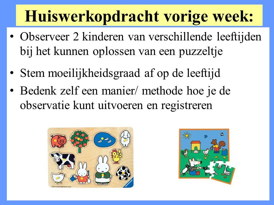 Huiswerkopdracht vorige week: Observeer 2 kinderen van verschillende leeftijden bij het kunnen oplossen van een puzzeltje Stem moeilijkheidsgraad af o