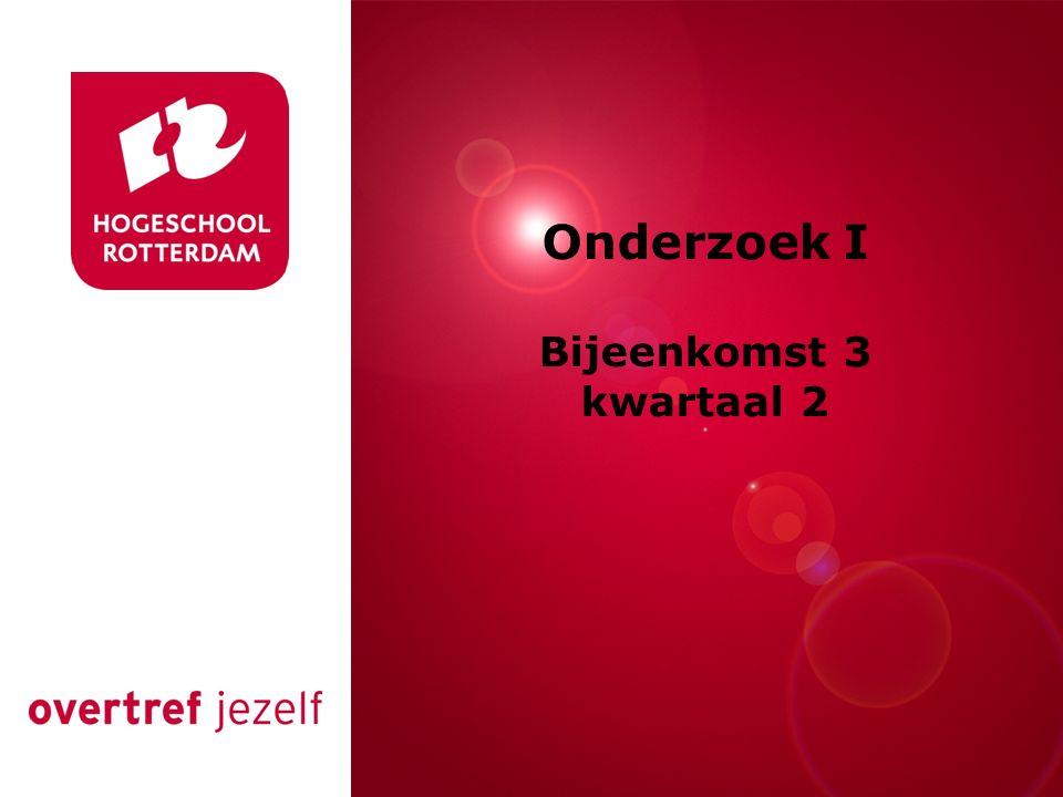 Rotterdam, 00 januari 2007 Onderzoek I Bijeenkomst 3 kwartaal 2