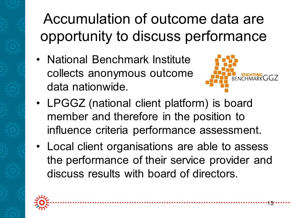 13 Accumulation of outcome data are opportunity to discuss performance National Benchmark Institute collects anonymous outcome data nationwide.