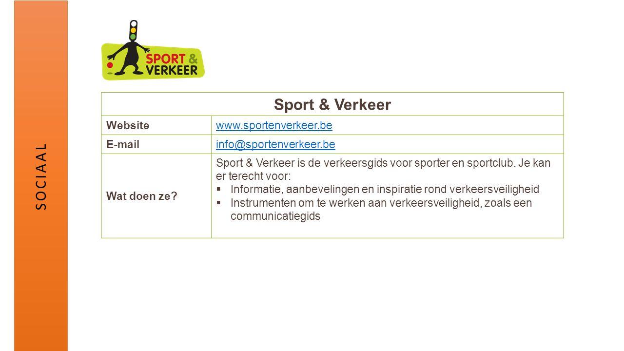 Sport & Verkeer Websitewww.sportenverkeer.be E-mailinfo@sportenverkeer.be Wat doen ze? Sport & Verkeer is de verkeersgids voor sporter en sportclub. J