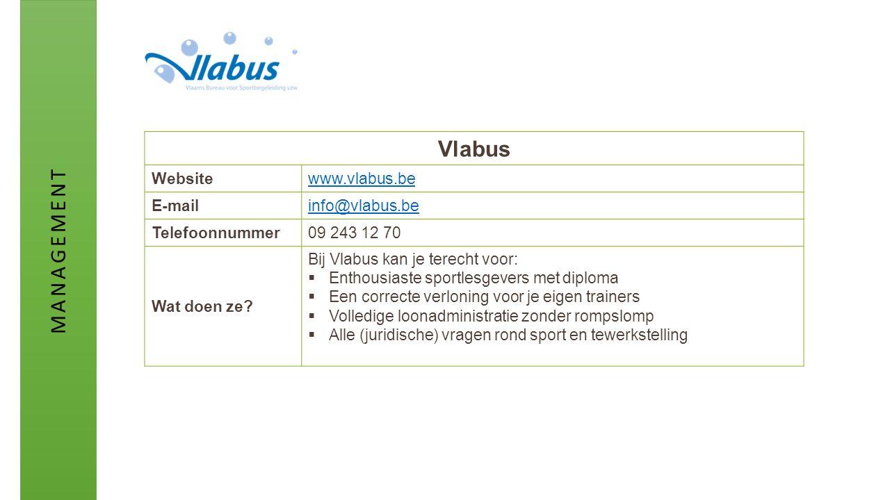 Vlabus Websitewww.vlabus.be E-mailinfo@vlabus.be Telefoonnummer09 243 12 70 Wat doen ze? Bij Vlabus kan je terecht voor:  Enthousiaste sportlesgevers