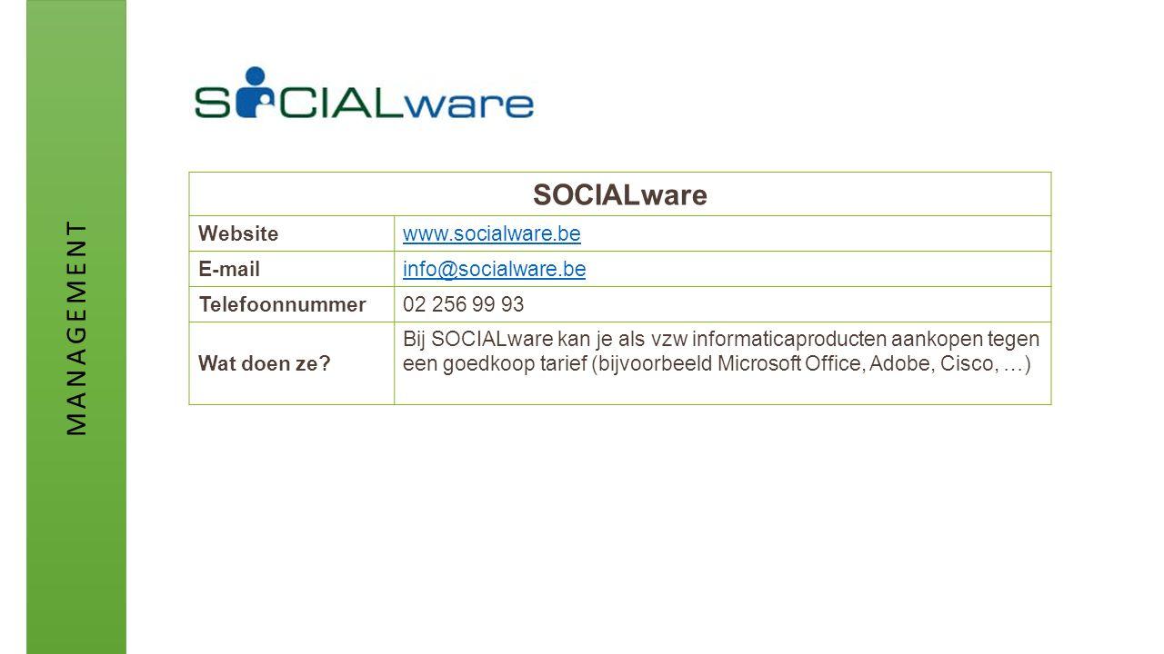 SOCIALware Websitewww.socialware.be E-mailinfo@socialware.be Telefoonnummer02 256 99 93 Wat doen ze? Bij SOCIALware kan je als vzw informaticaproducte
