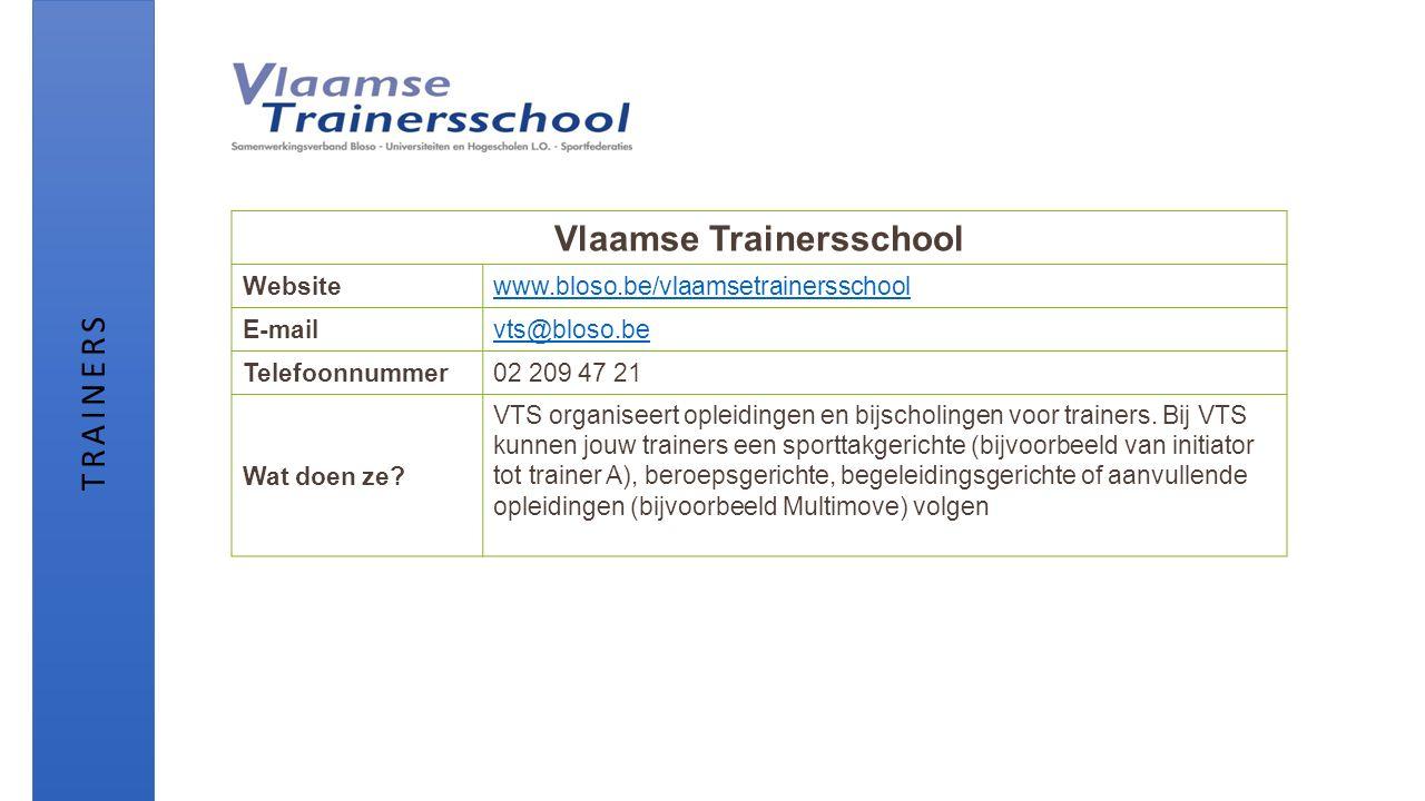 Vlaamse Trainersschool Websitewww.bloso.be/vlaamsetrainersschool E-mailvts@bloso.be Telefoonnummer02 209 47 21 Wat doen ze? VTS organiseert opleidinge