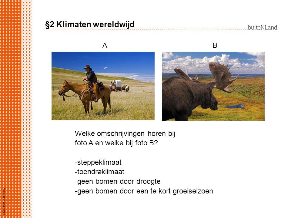 §2 Klimaten wereldwijd Welke omschrijvingen horen bij foto A en welke bij foto B? -steppeklimaat -toendraklimaat -geen bomen door droogte -geen bomen