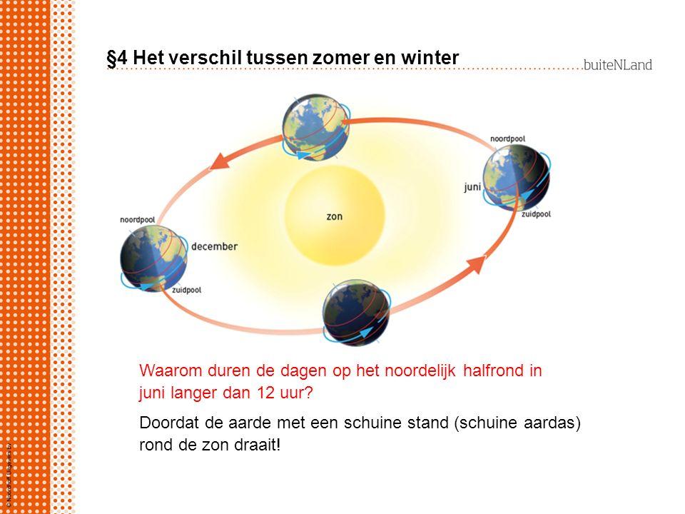 §4 Het verschil tussen zomer en winter Doordat de aarde met een schuine stand (schuine aardas) rond de zon draait! Waarom duren de dagen op het noorde