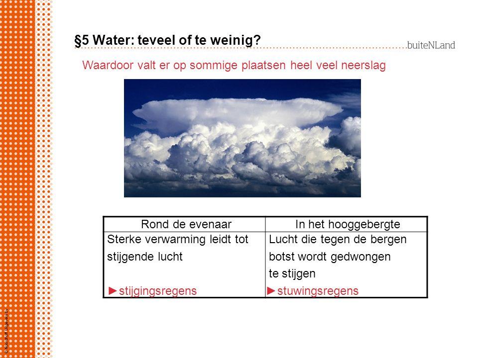 §5 Water: teveel of te weinig? Waardoor valt er op sommige plaatsen heel veel neerslag Rond de evenaar In het hooggebergte Sterke verwarming leidt tot