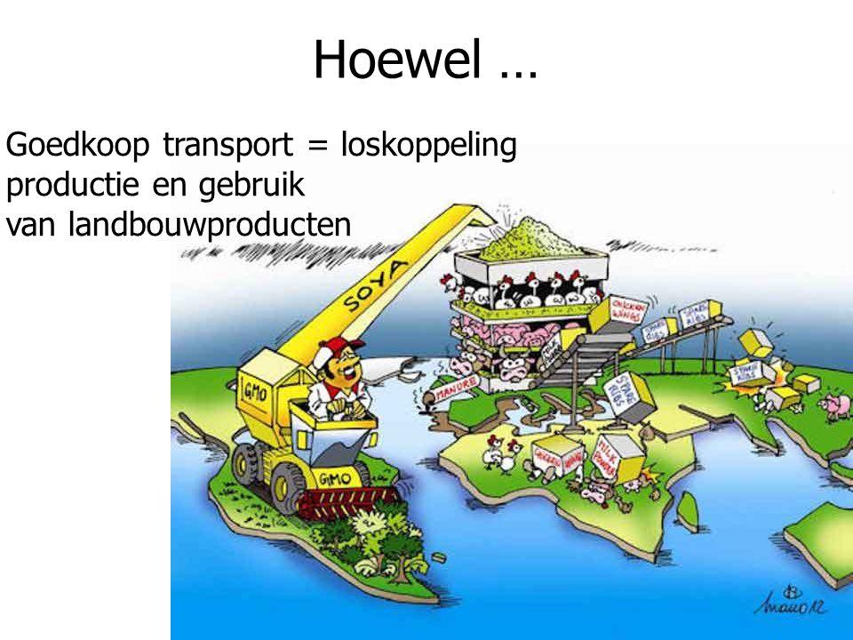Hoewel … Goedkoop transport = loskoppeling productie en gebruik van landbouwproducten