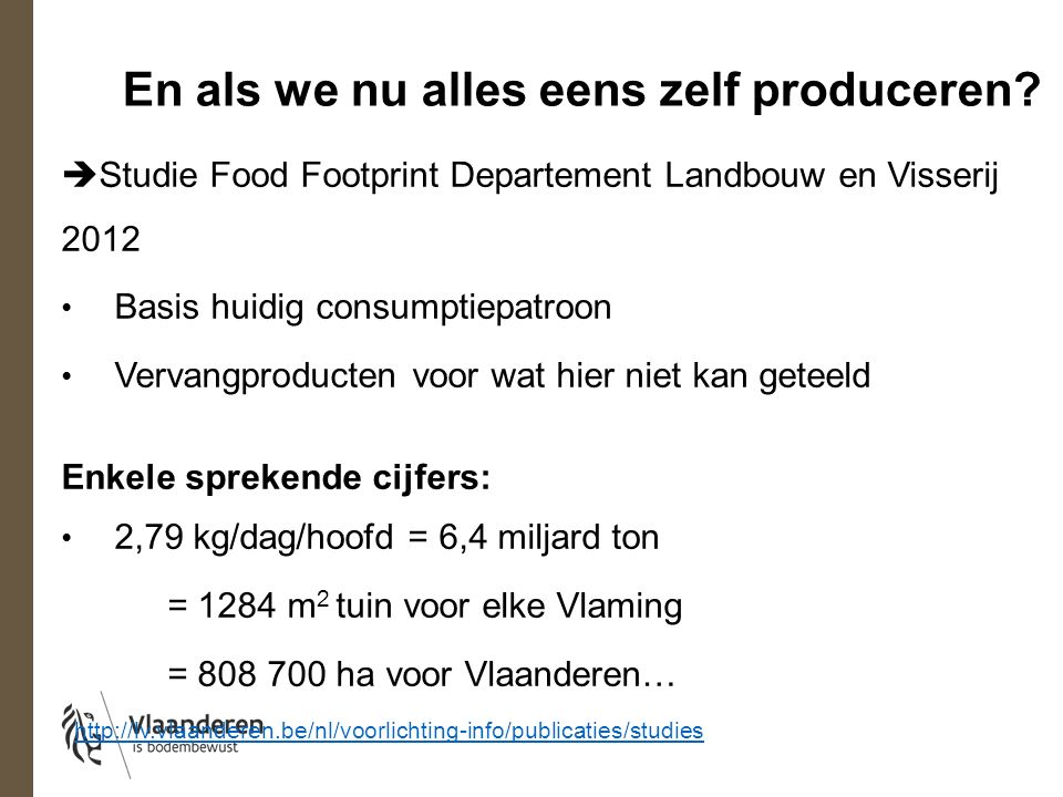 En als we nu alles eens zelf produceren?  Studie Food Footprint Departement Landbouw en Visserij 2012 Basis huidig consumptiepatroon Vervangproducten