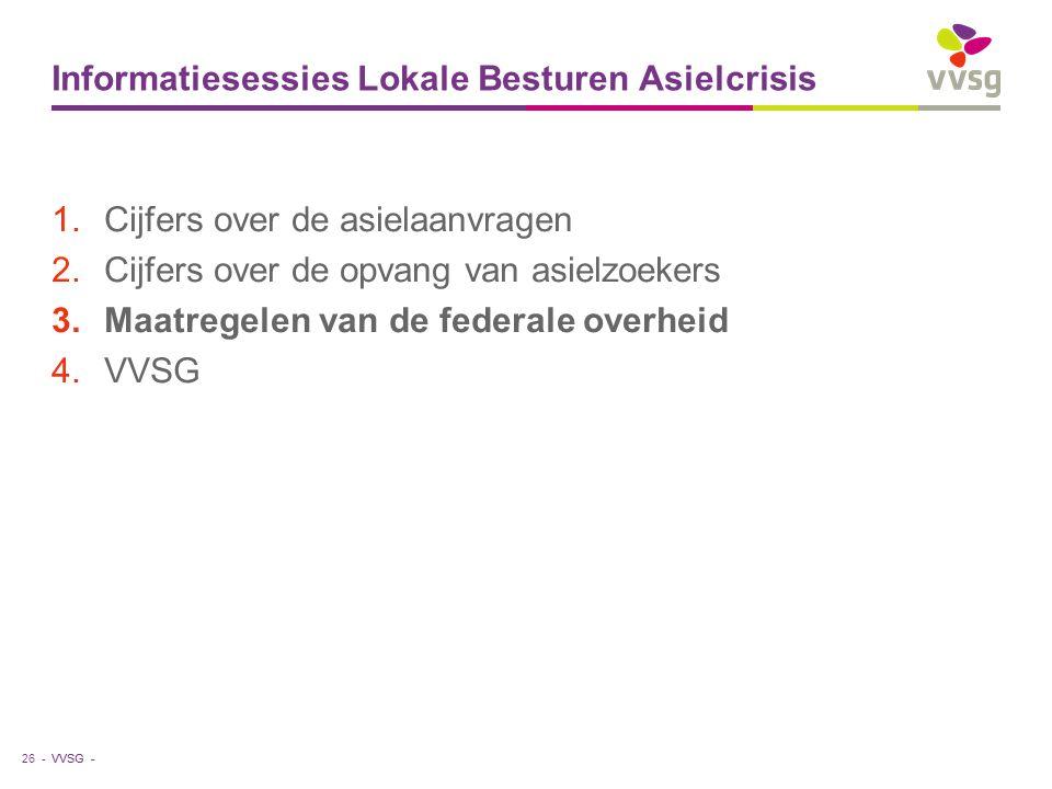 VVSG - Informatiesessies Lokale Besturen Asielcrisis 1.Cijfers over de asielaanvragen 2.Cijfers over de opvang van asielzoekers 3.Maatregelen van de federale overheid 4.VVSG 26 -