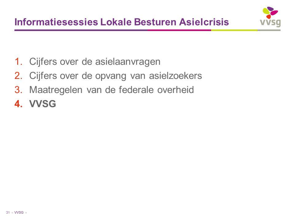 VVSG - Informatiesessies Lokale Besturen Asielcrisis 1.Cijfers over de asielaanvragen 2.Cijfers over de opvang van asielzoekers 3.Maatregelen van de federale overheid 4.VVSG 31 -