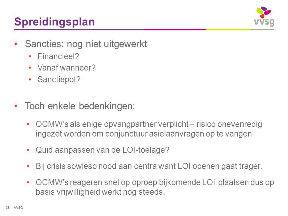 VVSG - Spreidingsplan 36 - Sancties: nog niet uitgewerkt Financieel? Vanaf wanneer? Sanctiepot? Toch enkele bedenkingen: OCMW's als enige opvangpartne