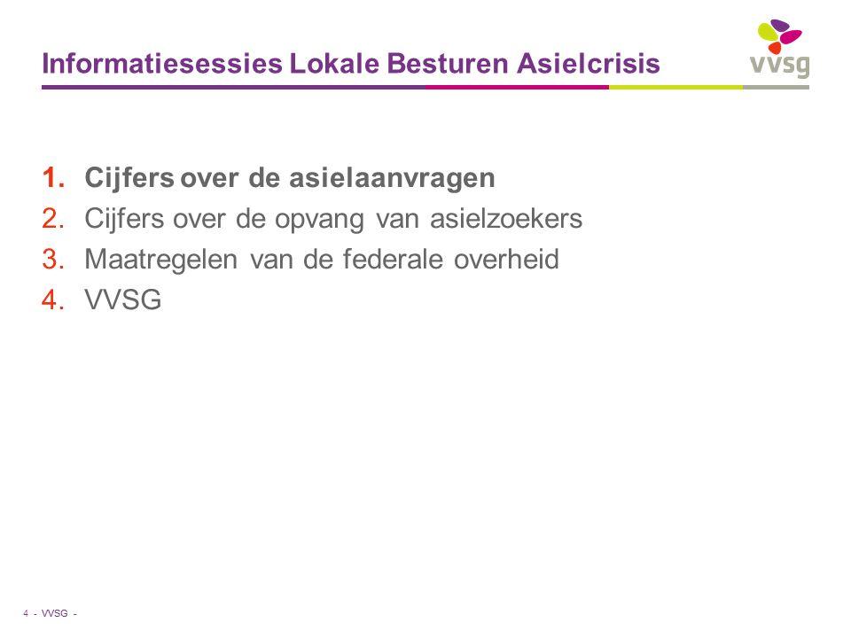 VVSG - Informatiesessies Lokale Besturen Asielcrisis 1.Cijfers over de asielaanvragen 2.Cijfers over de opvang van asielzoekers 3.Maatregelen van de federale overheid 4.VVSG 4 -