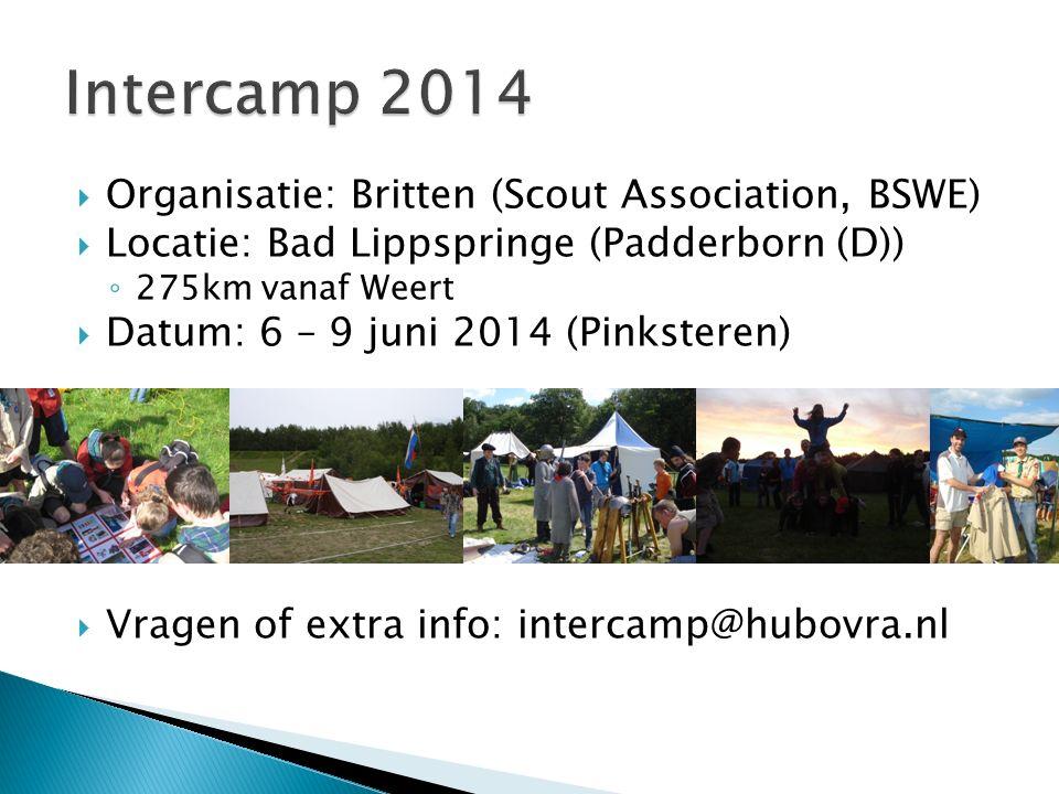  Organisatie: Britten (Scout Association, BSWE)  Locatie: Bad Lippspringe (Padderborn (D)) ◦ 275km vanaf Weert  Datum: 6 – 9 juni 2014 (Pinksteren)