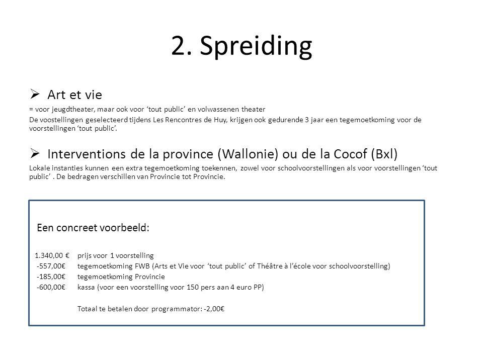 2. Spreiding  Art et vie = voor jeugdtheater, maar ook voor 'tout public' en volwassenen theater De voostellingen geselecteerd tijdens Les Rencontres