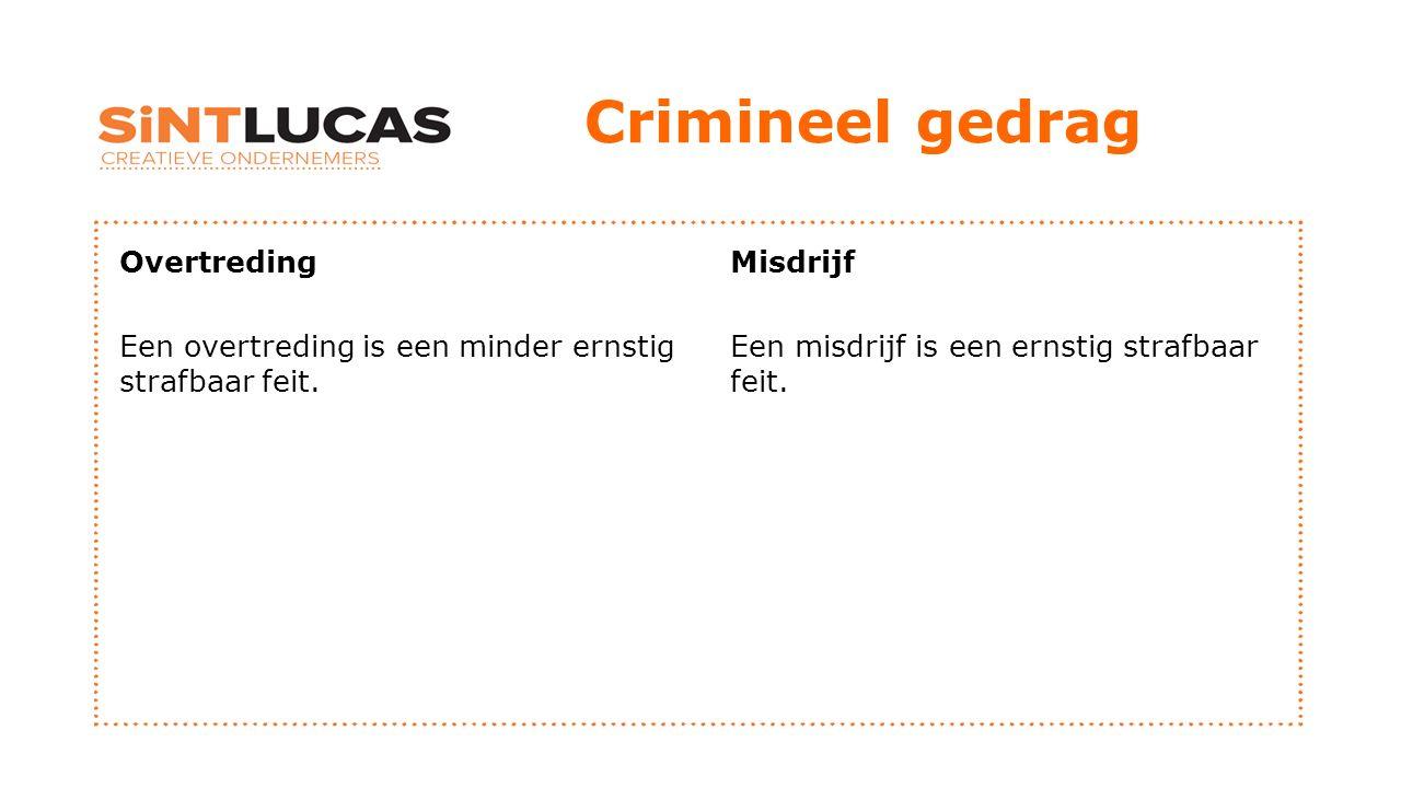 Crimineel gedrag Overtreding Een overtreding is een minder ernstig strafbaar feit.