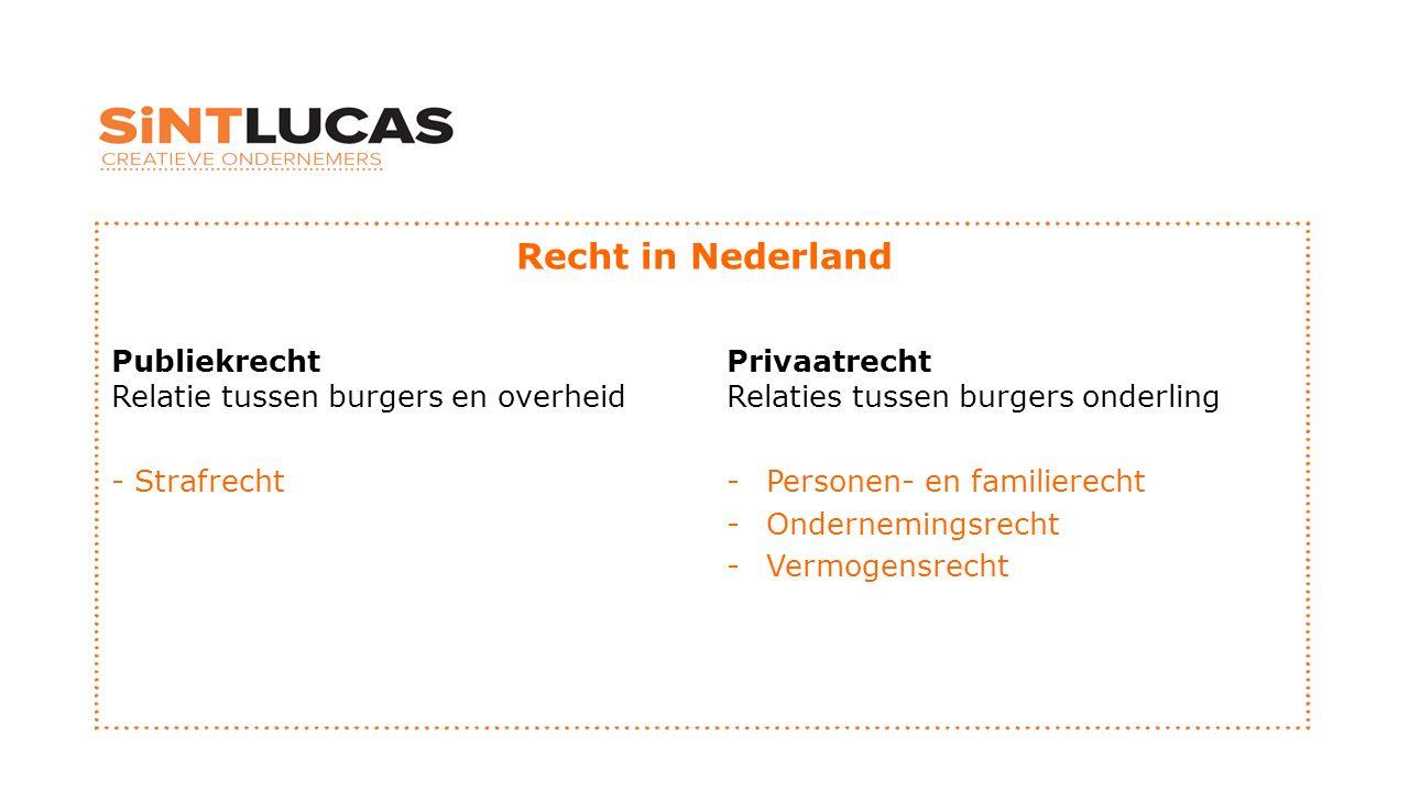 Recht in Nederland Publiekrecht Relatie tussen burgers en overheid - Strafrecht Privaatrecht Relaties tussen burgers onderling -Personen- en familierecht -Ondernemingsrecht -Vermogensrecht