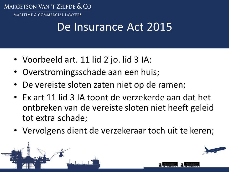 De Insurance Act 2015 Voorbeeld art. 11 lid 2 jo. lid 3 IA: Overstromingsschade aan een huis; De vereiste sloten zaten niet op de ramen; Ex art 11 lid