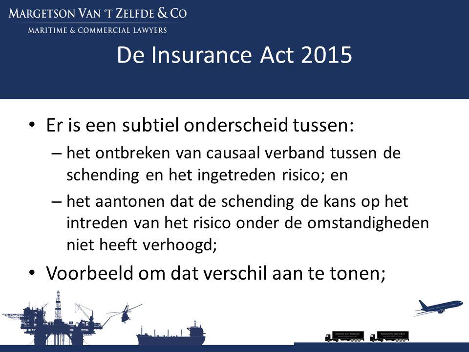 De Insurance Act 2015 Er is een subtiel onderscheid tussen: – het ontbreken van causaal verband tussen de schending en het ingetreden risico; en – het aantonen dat de schending de kans op het intreden van het risico onder de omstandigheden niet heeft verhoogd; Voorbeeld om dat verschil aan te tonen;