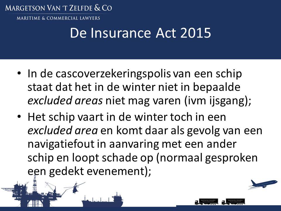 De Insurance Act 2015 In de cascoverzekeringspolis van een schip staat dat het in de winter niet in bepaalde excluded areas niet mag varen (ivm ijsgan