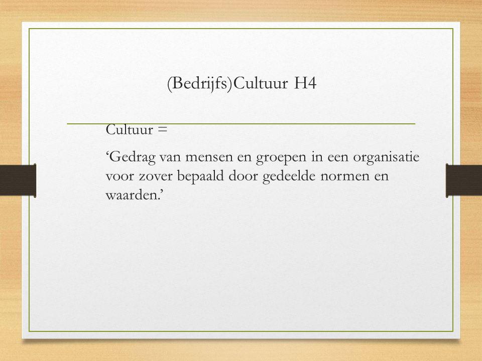 (Bedrijfs)Cultuur H4 Cultuur = 'Gedrag van mensen en groepen in een organisatie voor zover bepaald door gedeelde normen en waarden.'