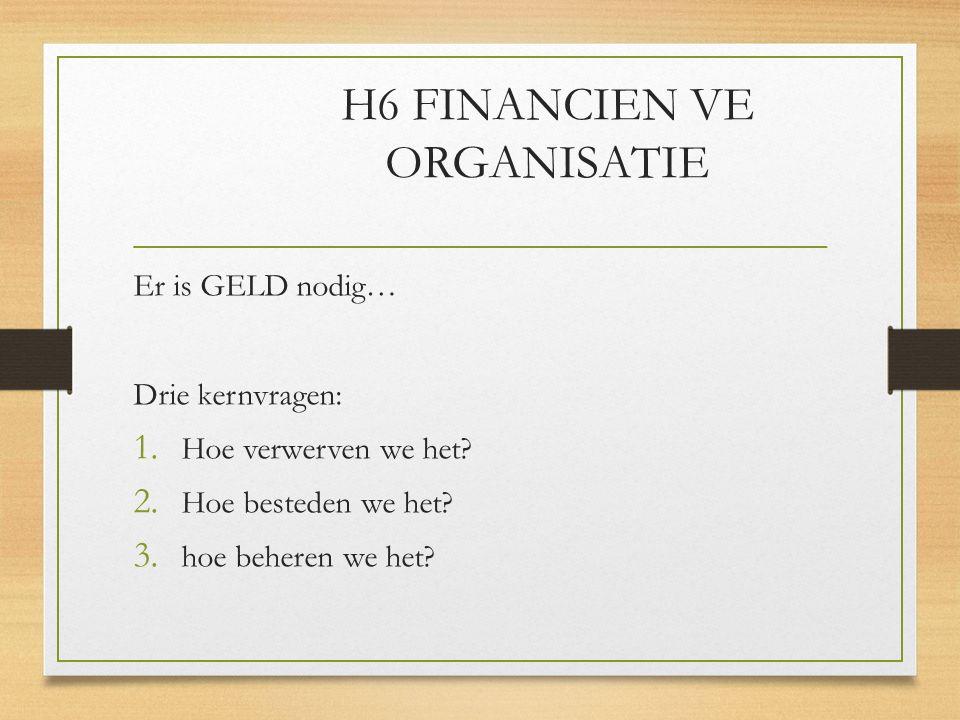 H6 FINANCIEN VE ORGANISATIE Er is GELD nodig… Drie kernvragen: 1.