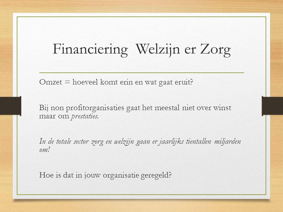 Financiering Welzijn er Zorg Omzet = hoeveel komt erin en wat gaat eruit.