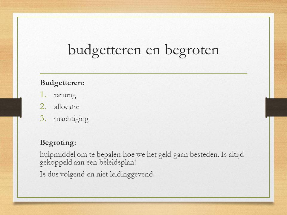 BEGROTINGSCYCLUS: Beleidsplan  Begroting  Budgetaanvraag  Budgettoekenning  Uitvoeringsplan