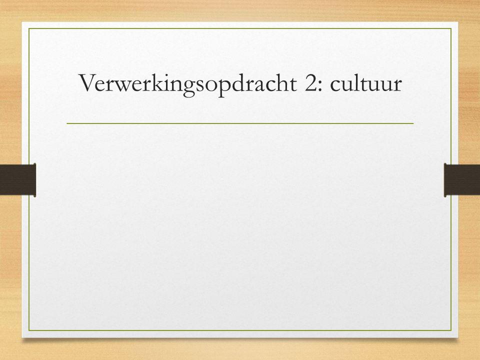 Verwerkingsopdracht 2: cultuur