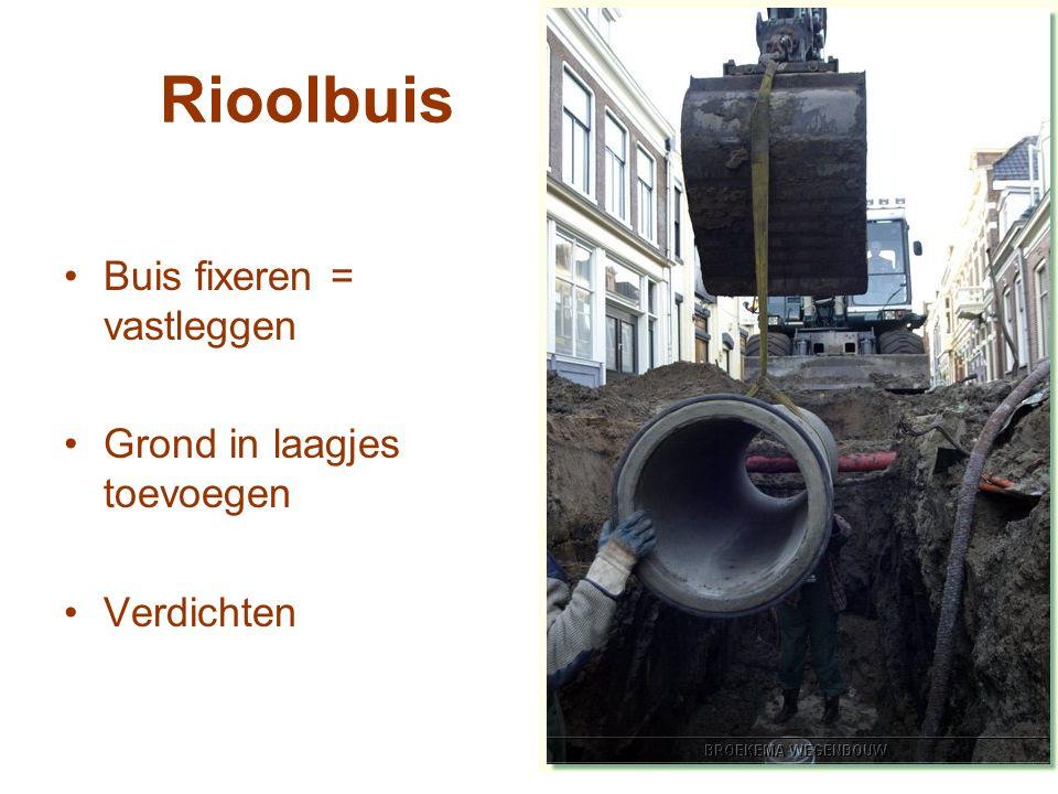 Rioolbuis Buis fixeren = vastleggen Grond in laagjes toevoegen Verdichten