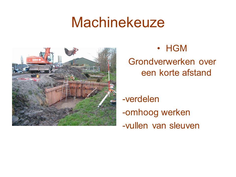 Machinekeuze HGM Grondverwerken over een korte afstand -verdelen -omhoog werken -vullen van sleuven