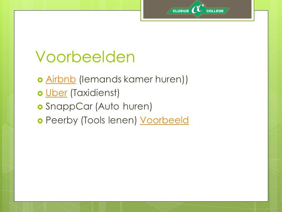 Voorbeelden  Airbnb (Iemands kamer huren)) Airbnb  Uber (Taxidienst) Uber  SnappCar (Auto huren)  Peerby (Tools lenen) VoorbeeldVoorbeeld