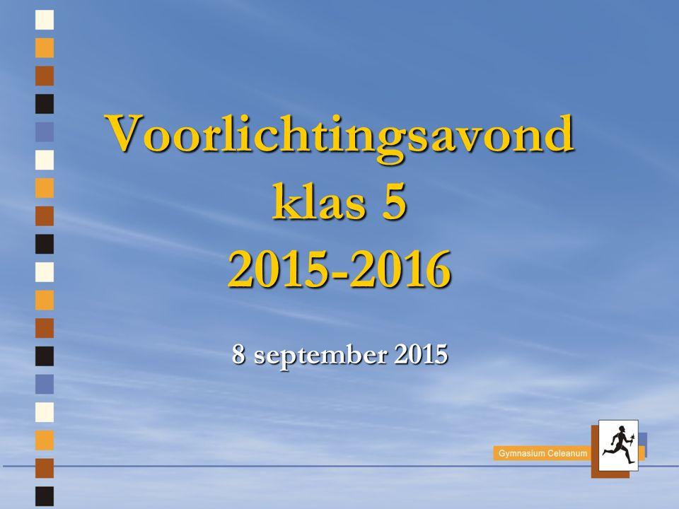 Voorlichtingsavond klas 5 2015-2016 8 september 2015