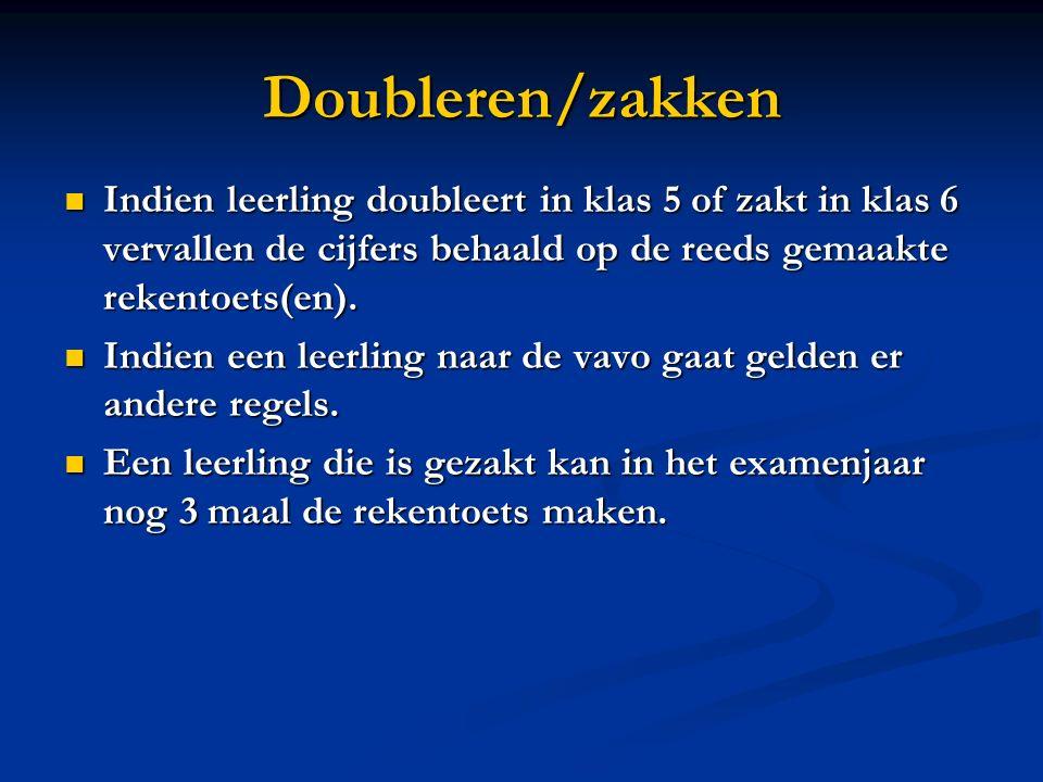 Doubleren/zakken Indien leerling doubleert in klas 5 of zakt in klas 6 vervallen de cijfers behaald op de reeds gemaakte rekentoets(en).