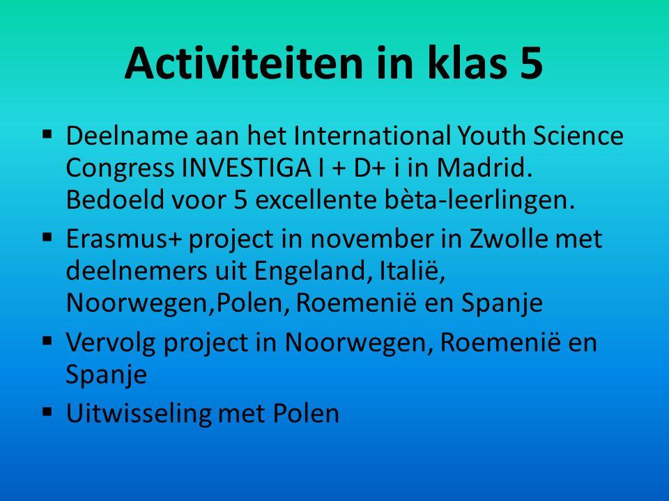 Activiteiten in klas 5  Deelname aan het International Youth Science Congress INVESTIGA I + D+ i in Madrid.
