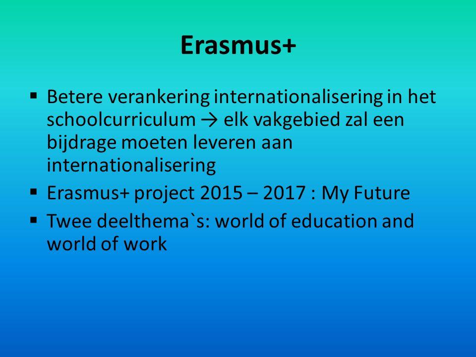 Erasmus+  Betere verankering internationalisering in het schoolcurriculum → elk vakgebied zal een bijdrage moeten leveren aan internationalisering  Erasmus+ project 2015 – 2017 : My Future  Twee deelthema`s: world of education and world of work