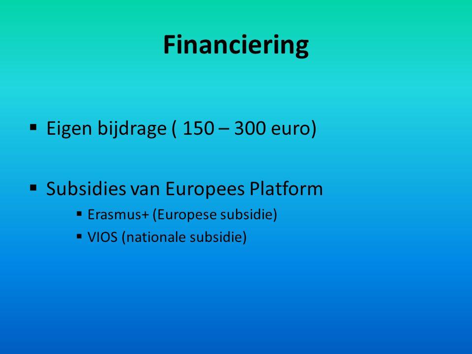 Financiering  Eigen bijdrage ( 150 – 300 euro)  Subsidies van Europees Platform  Erasmus+ (Europese subsidie)  VIOS (nationale subsidie)