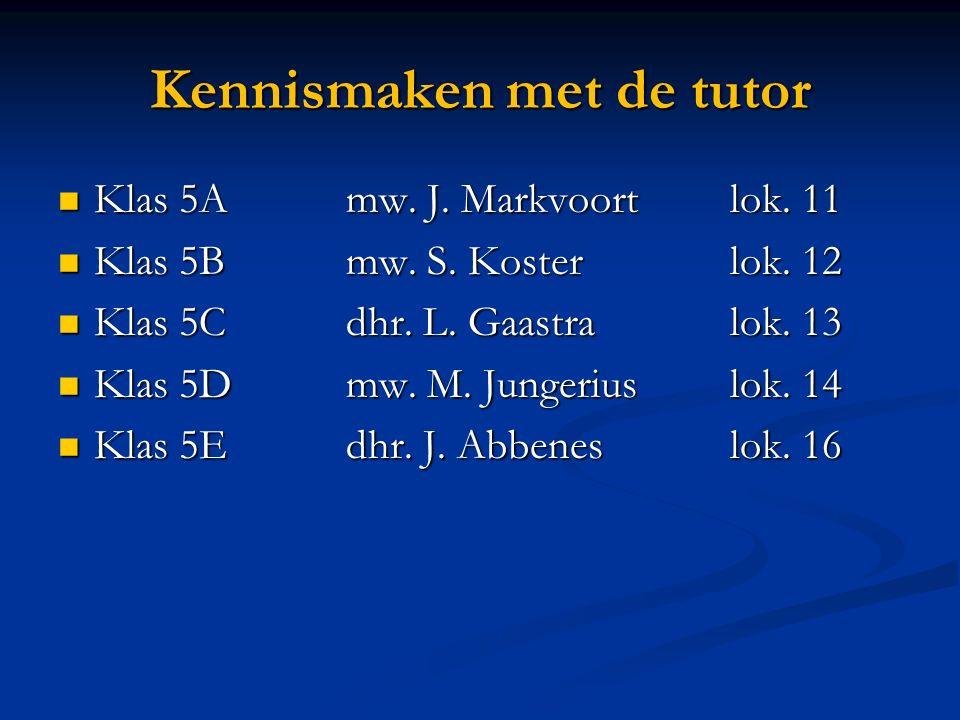 Kennismaken met de tutor Klas 5Amw. J. Markvoortlok.
